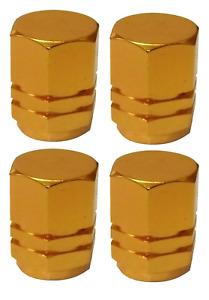 Gold Hexagonal High Quality Metal Metallic Dust Caps Pack of 4 Caps