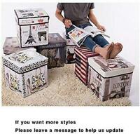 Home Modern Folding Storage Box Pouffe Seat Foot Stool Cube Ottoman Toy With Lid