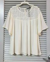 ivory lace neck short slev top 2XL