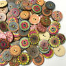 100pcs 2 Holes Mixed Boho Flower Wooden Button Sewing Scrapbooking DIY Craft NEW