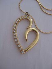 "Estate Costume Park Lane Rhinestone Open Heart Necklace Gold Tone 17"""