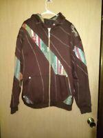 Vintage COOGI Men's Full Zip Tribal Appliqued Trim Hoodie Sweatshirt Size XXL
