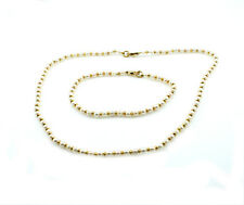 9ct Yellow Gold Real Freshwater Pearl Necklace And Bracelet Set With Gold Beads