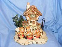 Pendelfin Christmas Scene With Original Christmas Rabbits Cobble Cottage 1980's