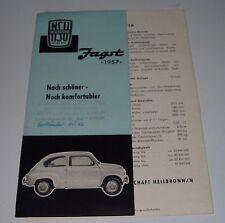 Zusatz Betriebsanleitung Ergänzung zur Bedienung NSU Jagst 1957 Lizenz Fiat!