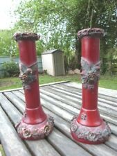 LOVELY PAIR OF ORNATE VINTAGE LACQUERED RESIN WOOD CANDLESTICKS.