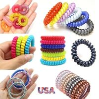 Elastic Girl Rubber Telephone Wire Hair Ties Plastic Rope Spiral Hairband USA