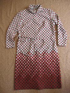 Robe C&A Vintage Marron Pop Motif Femme Années 80 Ancien dress - 44