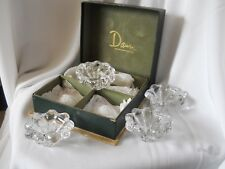 4 VINTAGE FRENCH SIGNED DAUM CLEAR CRYSTAL ASH TRAY OR DISHES IN BOX OF ORIGIN