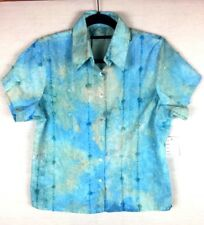 Corsican Woman's Short Sleeved Shirt Tye Dyed Blue Green Size 16 BNWT Sequined