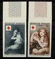 "FRANCE YVERT 1006/1007 SCOTT # B291-292 "" RED CROSS 1954 SET IMPERF "" MH VF V320"