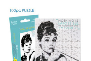"""NEW Audrey Hepburn 100 piece jigsaw pocket puzzle """"Nothing Is Impossible"""" 6.25x8"""