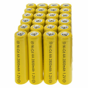 2~32PCS AA 2800mAh 1.2V Ni-Cd Rechargeable Yellow Batteries for LED Cell RC Toy