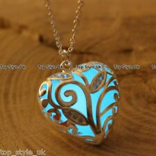 Aqua Glow in the Dark Heart Necklace Christmas Gift for her girlfriend wife lady