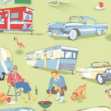 Michael Miller Retro Trailer Fabric TRAILER TRAVEL- 26""