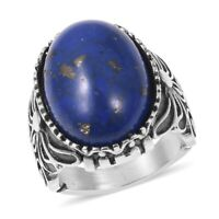 Cocktail Ring Stainless Steel Oval Lapis Gift Jewelry for Women Size 8.25 Ct 12