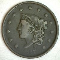 1837 Coronet Large Cent US Copper Type Coin VF Very Fine 1c
