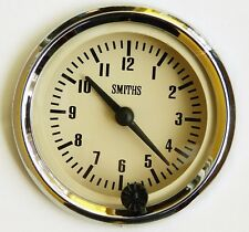 Genuine Smiths 12V Coche Clásico Reloj Bisel Cromado & Magnolia/Crema Cara GAE128M