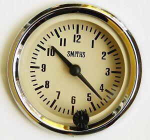 Genuine Smiths 12V Classic Car Clock Chrome Bezel & Magnolia /Cream Face GAE128M