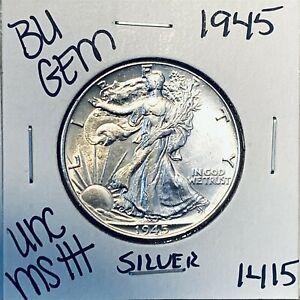 1945 BU GEM LIBERTY WALKING SILVER HALF UNC MS++ U.S. MINT RARE COIN 1415
