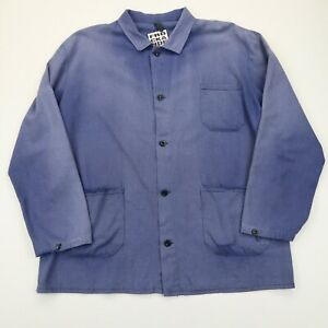 VINTAGE French EU Worker CHORE Work Shirt Jacket Worn Faded SZ XL (G497)