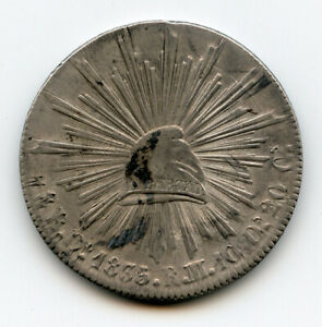MEXICO 1835/4-Do DURANGO MINT 8 REALES SILVER CROWN SCARCE NICE TONED XF.