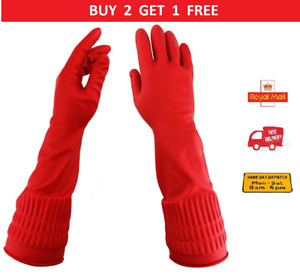Durable Rubber Cleaning Gloves Latex Long Sleeve Non-slip Work Household Kitchen