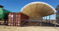 40' Shipping Container Dome Shelter w/ End Wall, Hot Dipped Galv. Metal Frame