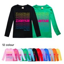Zamfam Kids Long Sleeve Rebecca Zamolo YouTuber Casual T-Shirt Boy Girls Top Tee