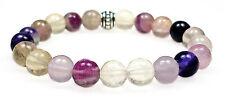 BRACELET - RAINBOW FLUORITE 8mm Round Crystal Bead with Description - Healing