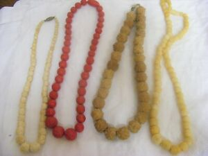Vintage 1930s art deco necklaces X4 early plastic galalith beads shorter lengths