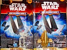 STAR WARS MICRO MACHINES #4 GOLD SLAVE-1 & FIRST ORDER SCOUT WALKER NEW GALOOB