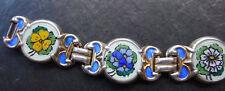 vintage einar modahl Norway 925S STERLING SILVER  flower enamel bracelet -N184