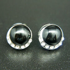 14k white Gold plated enamel round black earrings with Swarovski crystals