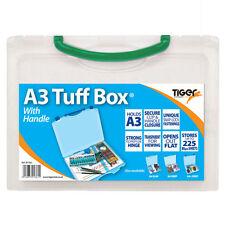 A3 documento di plastica trasparente forte TUFF BOX Carry CARTELLA ARCHIVIO PORTFOLIO-G