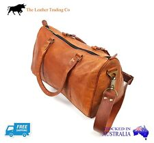 Small Leather Travel Duffel Bag - Goat Leather - 43cm across Travel Bag