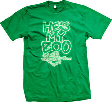 GLOW IN THE DARK He's My Boo Skeleton Finger Funny Couple Halloween Mens T-shirt