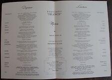 MENU PAQUEBOT FRANCE. Première classe, dimanche 1 er Avril 1962.