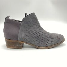 Toms Womens Ankle Boots Booties Gray Brown Suede Zip Perforated Low Heel 9.5 New