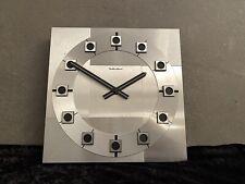 Hanhart Quarz Edelstahl Wanduhr Bauhaus Design Mid Century Vintage Uhr 70er