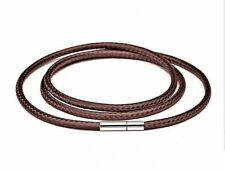 1Pcs Fashion Men's Stainless Steel Clasp Brown Wax Leather Cord Pendant Necklace