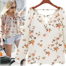 Fashion Women Ladies Loose Summer Blouse Tops Long Sleeve Tether Chiffon Shirt