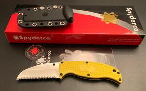 🔥 Spyderco Enuff Salt Fixed Blade Knife Yellow FB31SYL Corrosion Resistant