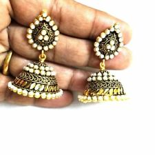 Ethnic Bollywood Or Noir Fashion Indian Pearl Boucles D'Oreilles Jhumka JHUMKI Jewelry