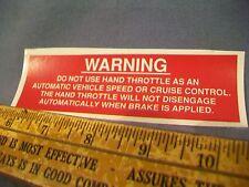 WARNING Hand Throttle Label Sticker M151 A1 A2 M38 M37 M715 M998 M35 M422