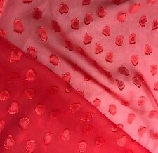 "Chiffon Fabric - Red Embroidered HEARTS 54"" by the yard"