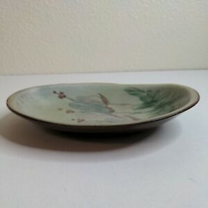 """9"""" Caldehell Antigua Hand Painted Decorative Plate Floral Green Unique"""