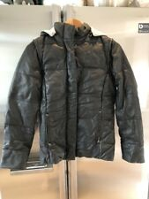 Lot 78 Black Leather Puffer Jacket Coat Vest Hood IT 40 S Small M Medium New NWT