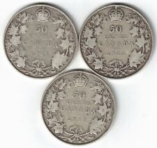 3 X CANADA 50 CENTS HALF DOLLARS GEORGE V STERLING SILVER COINS 1911 1912 1913