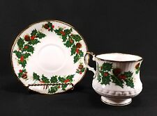 VINTAGE QUEENS YULETIDE BONE CHINA TEA CUP & SAUCER-ENGLAND-HOLLY BERRY ROSINA